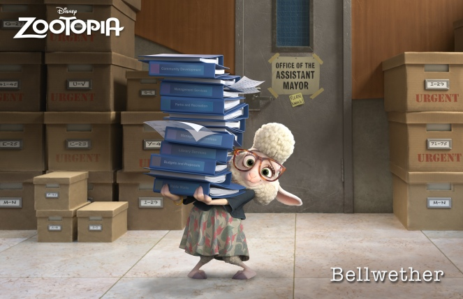 ZOOTOPIA - ASSISTANT MAYOR BELLWETHER, a sweet sheep with a little voice and a lot of wool, who constantly finds herself under foot of the larger-than-life Mayor Lionheart. ©2015 Disney. All Rights Reserved.
