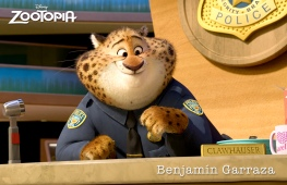 ZOOTOPIA - The Zootopia Police Department's most charming cheetah, BENJAMIN CLAWHAUSER. Clawhauser loves two things: pop star Gazelle and donuts. From his reception desk, he greets everyone with a warm smile and a helpful paw covered in sprinkles. ©2015 Disney. All Rights Reserved.
