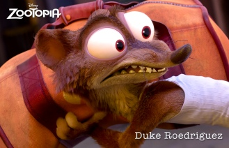 ZOOTOPIA - DUKE WEASELTON, a small-time weasel crook with a big-time weasel mouth, who tries to give Judy the slip during a police chase. ©2015 Disney. All Rights Reserved.