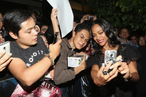 "MEXICO CITY, MEXICO - AUGUST 30: Caption: MEXICO CITY, MEXICO – AUGUST 30: Actress Zoe Saldana signs autographs and takes selfies with fans during the promotional tour of the Paramount Pictures title ""Star Trek Beyond"" at Cinemex Antara Polanco on August 30, 2016 at The St Regis Hotel in Mexico City, Mexico. (Photo by Victor Chavez/Getty Images for Paramount Pictures) *** Local Caption *** Zoe Saldana"