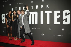 "MEXICO CITY, MEXICO - AUGUST 30: Actress Zoe Saldana, guest, actor Simon Pegg and David Alfaro take a selfie during the premiere of the Paramount Pictures title ""Star Trek Beyond"" at Cinemex Antara Polanco on August 30, 2016 in Mexico City, Mexico. (Photo by Victor Chavez/Getty Images for Paramount Pictures) *** Local Caption *** Zoe Saldana;Simon Pegg;David Alfaro"