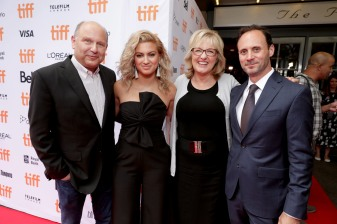 "Producer Christopher Meledandri, Tori Kelly, Producer Janet Healy and Mike Knobloch, President, Film Music and Publishing of Universal Pictures, seen at Universal Pictures ""Sing"" at the 2016 Toronto International Film Festival on Sunday, Sept. 11, 2016, in Toronto. (Photo by Eric Charbonneau/Invision for Universal Pictures/AP Images)"
