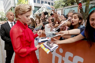 "Scarlett Johansson seen at Universal Pictures ""Sing"" at the 2016 Toronto International Film Festival on Sunday, Sept. 11, 2016, in Toronto. (Photo by Eric Charbonneau/Invision for Universal Pictures/AP Images)"
