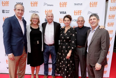"Brian L. Roberts, Chairman and CEO of Comcast Corporation, Producer Janet Healy, Producer Christopher Meledandri, Donna Langley, Chairman of Universal Pictures, Ron Meyer, Vice Chairman of NBCUniversal, and Jeff Shell, Chairman of Universal Filmed Entertainment Group, seen at Universal Pictures ""Sing"" at the 2016 Toronto International Film Festival on Sunday, Sept. 11, 2016, in Toronto. (Photo by Eric Charbonneau/Invision for Universal Pictures/AP Images)"