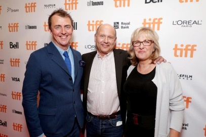 "Director/Writer Garth Jennings, Producer Christopher Meledandri and Producer Janet Healy seen at Universal Pictures ""Sing"" at the 2016 Toronto International Film Festival on Sunday, Sept. 11, 2016, in Toronto. (Photo by Eric Charbonneau/Invision for Universal Pictures/AP Images)"