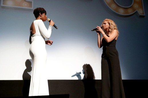 "Jennifer Hudson and Tori Kelly perform at Universal Pictures ""Sing"" at the 2016 Toronto International Film Festival on Sunday, Sept. 11, 2016, in Toronto. (Photo by Eric Charbonneau/Invision for Universal Pictures/AP Images)"
