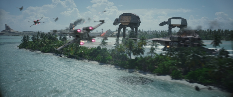 Rogue One: A Star Wars Story..X-Wing and U-Wing versus AT-ACTs..Photo credit: Lucasfilm/ILM..©2016 Lucasfilm Ltd. All Rights Reserved.