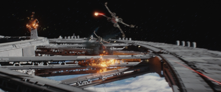 Rogue One: A Star Wars Story..X-Wings in battle..Photo credit: Lucasfilm/ILM..©2016 Lucasfilm Ltd. All Rights Reserved.