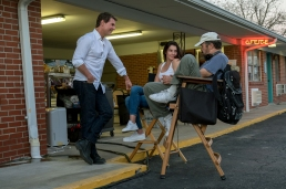 Left to right: Tom Cruise, Cobie Smulders and Director Edward Zwick on the set of Jack Reacher: Never Go Back from Paramount Pictures and Skydance Productions