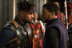 Marvel Studios' BLACK PANTHER L to R: Erik Killmonger (Michael B. Jordan) and T'Challa/Black Panther (Chadwick Boseman) Photo: Matt Kennedy ©Marvel Studios 2018