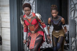 Marvel Studios' BLACK PANTHER L to R: Nakia (Lupita Nyong'o) and Shuri (Letitia Wright) Photo: Matt Kennedy ©Marvel Studios 2018