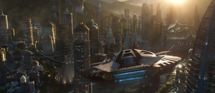Marvel Studios' BLACK PANTHER Talon Fighter over Wakanda Ph: Film Frame ©Marvel Studios 2018