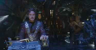 Marvel Studios' AVENGERS: INFINITY WAR..L to R: Star-Lord/Peter Quill (Chris Pratt), Mantis (Pom Klementieff), Groot (voiced by Vin Diesel)..Photo: Film Frame..©Marvel Studios 2018